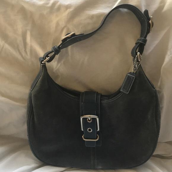 Coach Handbags - Coach handbag blue slate suede number f3q 7559